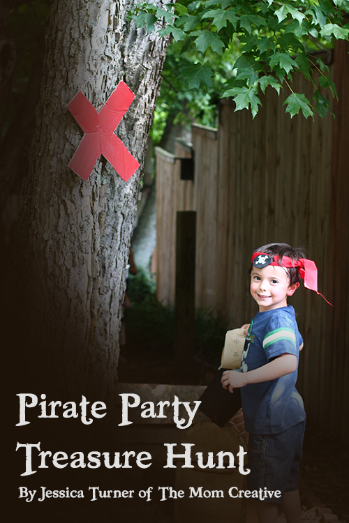 Pirate treasure hunt for pirate party with clues and games
