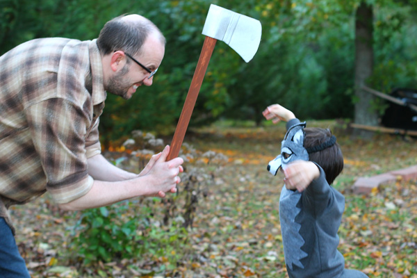 wood cutter and wolf from red riding hood Halloween costumes