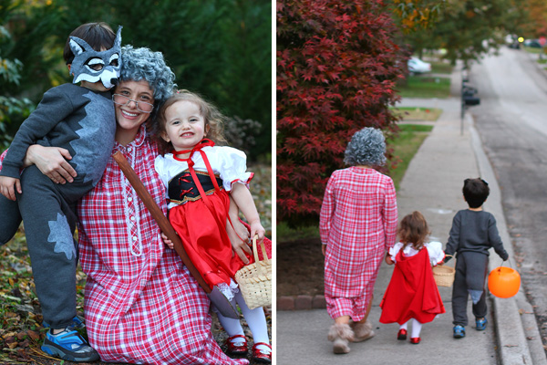 trick or treating with red riding hood and wolf Halloween costumes