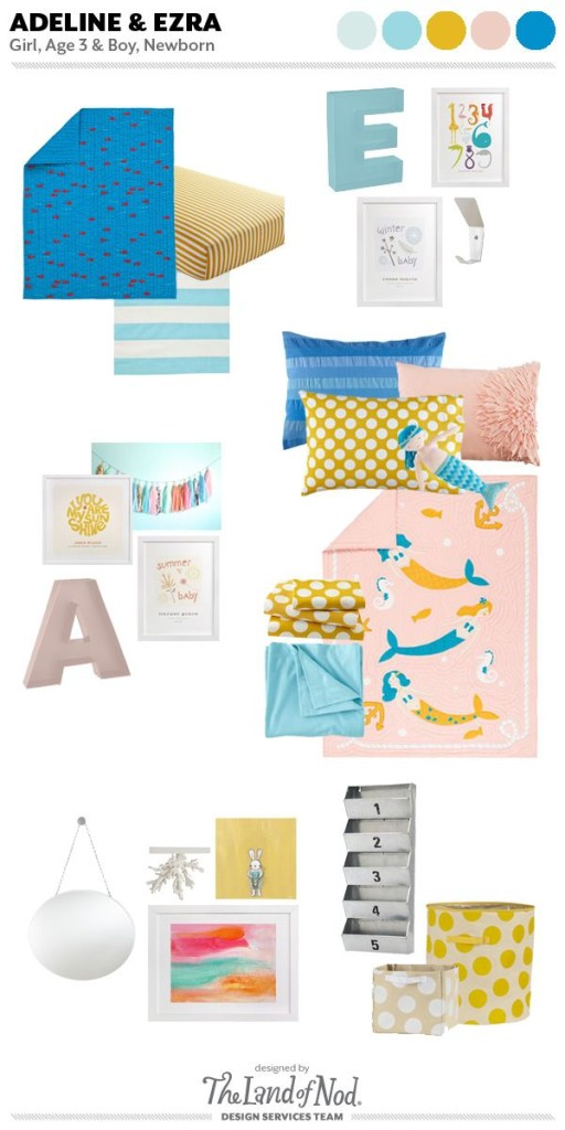 Boy and girl shared bedroom featuring Land of Nod