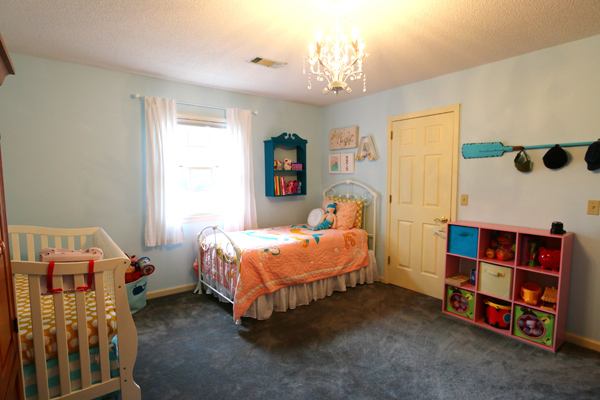 Shared boy and girl bedroom featuring Land of Nod