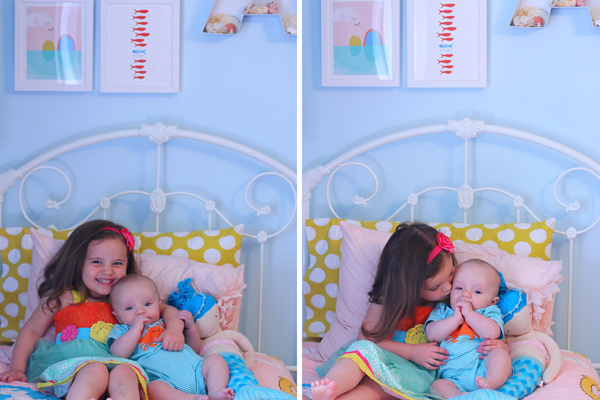 A shared boy and girl bedroom featuring Land of Nod