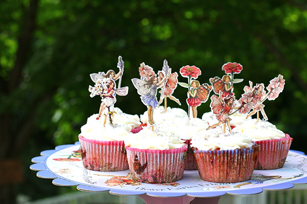 fairy party cupckaes and fairy cupcake stand