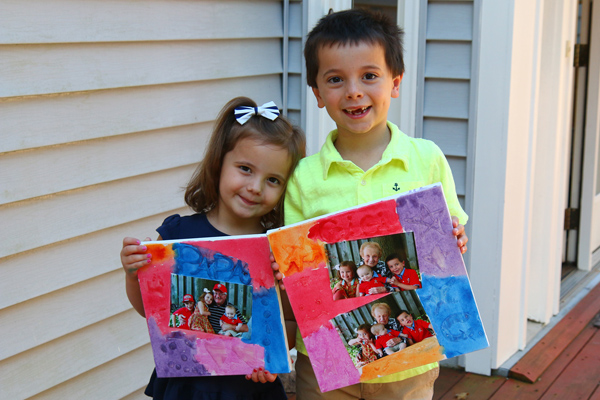 Grandparents Day Gift Idea: Craft a canvas with paint, photos and Elmers glue