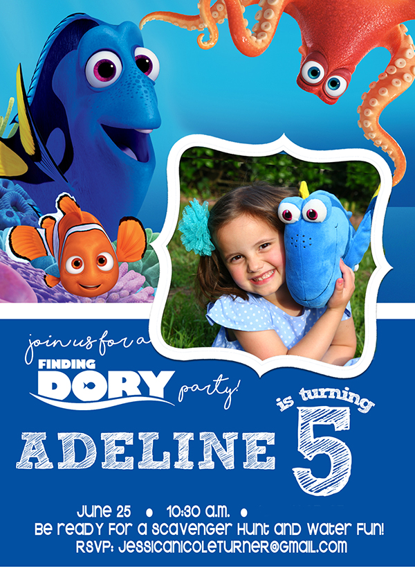 Finding Dory Birthday invitation