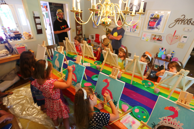 Rainbow art party art project tutorial including art supplies, set up and best resources