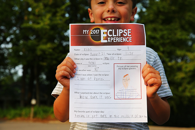 Free Eclipse Experience printable for kids to fill out for the eclipse on August 21, 2017