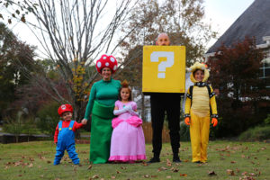 Family Halloween Costume theme: Super Mario Bros. Family Costume