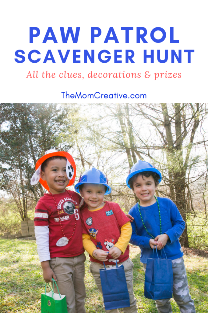 Paw Patrol Scavenger Hunt with prizes and clues