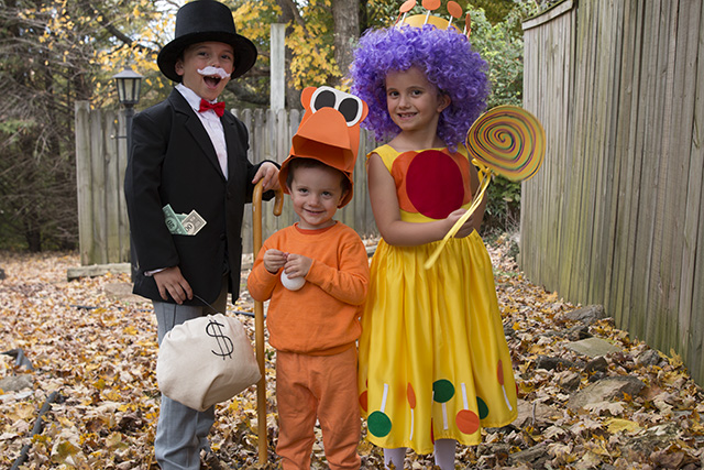 Family Game Night costumes Mr. Monopoly, Hungry Hippo Costume and Princess Lolli Candyland Costume