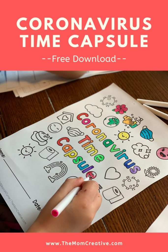 Coronavirus time capsule: free printable for kids and families + how to make a time capsule box and what to put inside