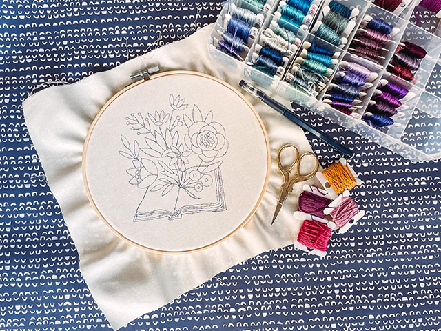 free Blooming Books embroidery pattern
