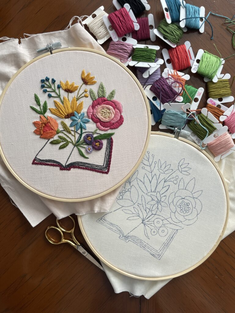 Free embroidery pattern of book and flowers